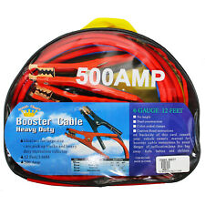 12 Ft Heavy Duty Power Booster Clamp Jumper Cable Emergency Car w Case 500 AMP