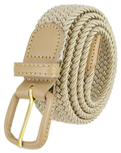 """Leather Covered Fabric Braided Belt Elastic Woven Stretch Belt 1-1/4""""(32mm) wide"""