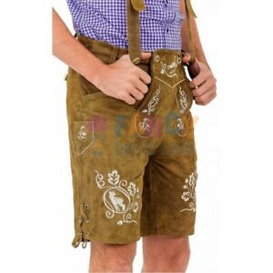 Light Brown Leather Lederhosen Costume Mens Traditional Oktoberfest Outfit