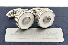 NEW Montegrappa Piacere Stainless Steel & White Inlay Gunmetal Emblem Cufflinks