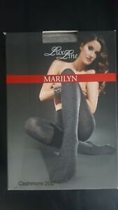 Marilyn Cashmere Wool Tights Warm Winter Thick Tights 200 Den S M Light Grey