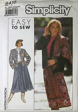SIMPLICITY 9416 Uncut Pattern Size A All Sizes Easy Jacket Skirt Scarf 1989 New