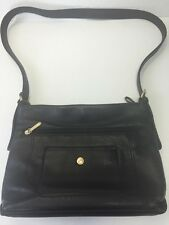 Stone & Company Genuine Pebble Black Leather Shoulder Bag  Adjustable Strap