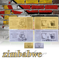 WR Zimbabwe 100 Trillion Dollars Bank Notes 24K GOLD SILVER Money Collection
