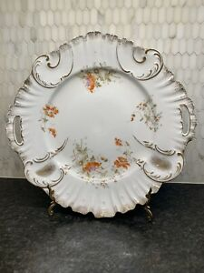 VIntage KPM GERMANY HANDLED CAKE PLATE Scalloped Gilt Edge White Gold Platter
