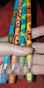 4 Pcs Animals (Lion, Monkey, Elephant, & Tiger) Push Point Pencils