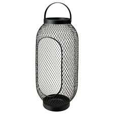 IKEA STEEL LANTERN CANDLE BLOCK OUTDOOR HOLDER WEDDING LAMP BLACK 49CM