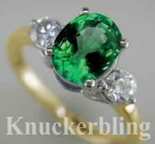 Emerald Yellow Gold Diamond Three-Stone Fine Rings