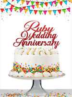 40th Ruby Wedding Anniversary Custom Cake Topper Personalised Glitter Customised