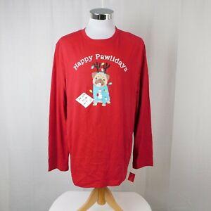 Family PJs Men's Happy Pawlidays Dog Print Christmas Pajama Top - Medium #7686