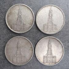 LOT 4 PIECES MONNAIE 5 REICHSMARK ARGENT ALLEMAGNE EGLISE 1934 - 1935