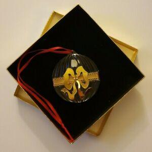 Vintage Gorham Bleikristall Crystal Gold Bow Christmas Ornament West Germany