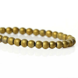 """Natural Hematite Beads Frosted Gold 4mm ( 3/16"""") 1 Strand - 110 Beads - BD627"""
