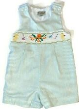 Classy Couture Smocked Jumper Jon Jon Green White Size 12 Month Lined Boutique