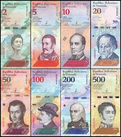VENEZUELA FULL SET 8 PCS 2 5 10 20 50 100 200 500 Bolivares soberanos 2018 UNC