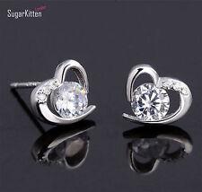 Solid 925 Sterling Silver 4mm CZ Heart Earrings New Fashion Jewellery Gift Lady