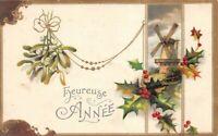 Carte Postale Fantaisie gaufrée, Heureuse année moulin et houx