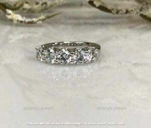 5 Stones Moissanite 3.00 Ct Wedding Anniversary Band Ring 14k White Gold Over