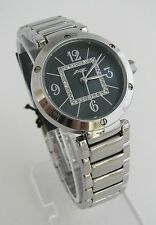 A II Z by TIMEX BLACK MOP DIAL & CRYSTALS+SILVER BAND WOMENS WATCH-NEW-V0V694