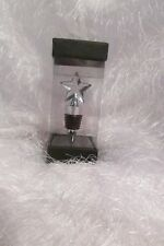 bottle stopper with star on top, silver & black NIB (A)