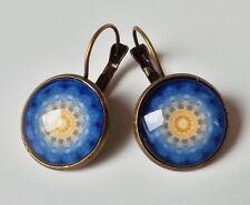 Ohrhänger Ethno Vintage Retro Mandala Kreis floral Cabochon blau antik bronze