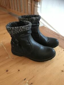 Pavers Ladies Flat Black Leather Ankle Boots, Size 39 (6 UK)