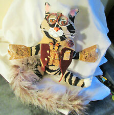 VICTORIAN CAT DOLL ooak unique new folk art hand sewn plush fabric Steampunk boy