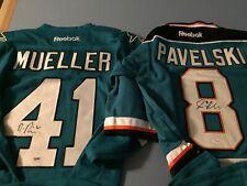 Mirco Mueller & Joe Pavelski Autographed Signed Sharks Jersey's - PSA / JSA