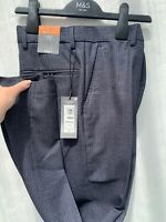 M&S Mens Suit Trousers Smart Pants Navy Mix Skinny Fit Brand New W28