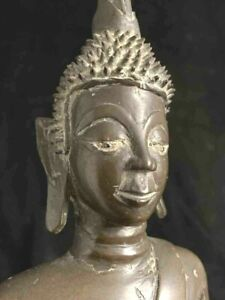 Large 18th c SE Asia Lao bronze Buddha with spiky hair curls & amber inset eyes