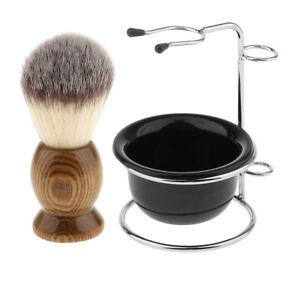 Men Wood Shaving Brush + Stainless Steel Holder Stand + Soap Mug Bowl Set