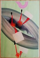 Sergio DANGELO - Dipinto unico, tecnica mista - anni '70, cm 70x50, CERTIFICATO