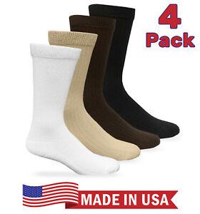 Carolina Ultimate Mens Seamless Non-Binding Cushion Ribbed Dress Crew Socks 4 Pr