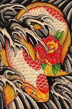 Life's Journey Japanese Koi Fish Tattoo Flowers Waves Fine Art Print Clark North