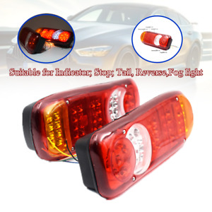 1 Pair LED Rear Trailer Lights Stop Reverse Indicator Fog Lamps Truck Universal