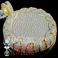Chain Mens 10K Yellow Gold Silver Simu Diamond Cluster Flower Medallion Pendant