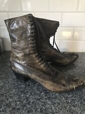 Victorian Antique Boots High Top Brown Black Leather Granny Size Cantilever Vtg