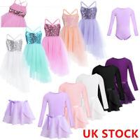 UK Girls Ballet Dance Dress Leotard+Tutu Skirt Kids Unitard Dancewear Outfits