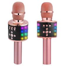 4 In 1 bluetooth Wireless Karaoke Microphone LED USB MIC Speaker Mini Home US