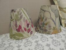 Handmade Candle Clip Lampshade Voyage Hedgerow in linen - purple flowers