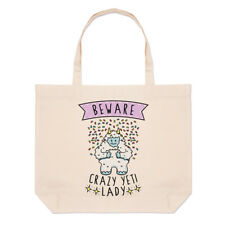 Beware Crazy Yeti Lady Large Beach Tote Bag - Funny Monster
