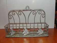 """Vintage? Silver Gray Metal Wire Wall hanging - Counter Shelf - Spice Rack 12"""""""