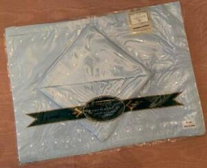 Vintage Sam Hedaya 8pc Embroidered Set 4 Placemats 4 Napkins Pale Blue NEW