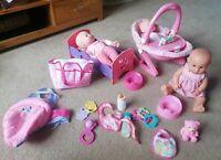 Dolls Bundle 3x Dolls Cot Carrier Car seat Rocker Changing Bag Accessories