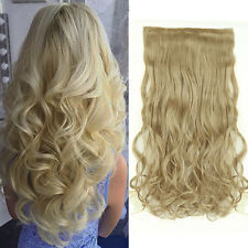 US Real Thick Clip In Hair Extensions Long Curly dark blonde mix ash blonde Aoc