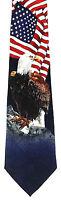 American Bald Eagle Men's Neck Tie Patriotic Bird USA National Flag Necktie