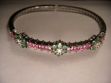 Stunning 18K White Gold Pink Sapphire Diamond Tsavorite Floral Bangle Bracelet