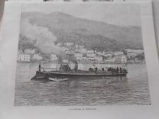 Gravure 1888 - La promenade en Torpilleur