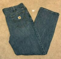 Mens Carhartt Relaxed Fit Denim Blue Jeans (Size W42 L34) L9