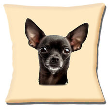 """NEW CHIHUAHUA BLACK DOG LARGE CLOSE UP OF HEAD PHOTO 16"""" Pillow Cushion Cover"""